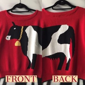 VINTAGE 80s NWT Cow Sweater Cotton Short Sleeved